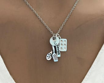personalized Baker Charm Necklace, muffin pan, Butter stick ,Spatula charm, initial jewelry, Chef Necklace, Cooking necklace, mother's gift