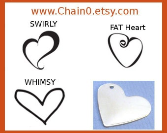 Metal Stamps HEARTS Design Hand Stamped Jewelry Tool ImpressArt Swirly Heart Fat Heart Whimsy Heart Stamp