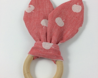 "2 5/8""  Red Apple Wooden Ring teether"