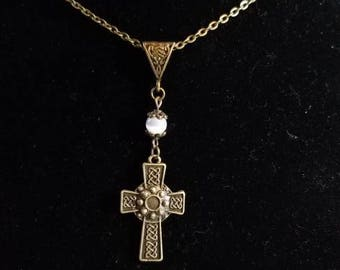 """18"""" Celtic Knot Cross pendant necklace with a White Cat Eye bead"""