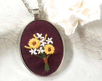 Hand Embroidered Necklace. Floral Necklace. Wildflower Pendant. Jewelry under 30. Sunflower Bouquet Pendant.