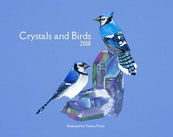 Crystals and Birds wall calendar 2018, birds calendar, planner 2018, calendar 2018, wall calendar 2018, birds calendar 2018, birds planner