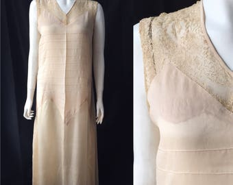 1920s silk dress with embroidered lace and pin tucks