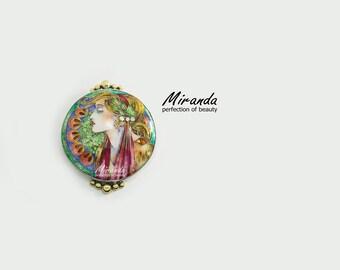Alphonse Mucha pendant, handmade jewelry, real cloisonne enamel, best gift for woman, 925 silver, best handmade jewelry, woman pendant