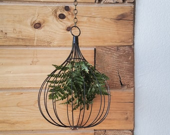 Industrial Hanging Basket - Hanging Wire Basket - Industrial Decor - Metal Decor - Rustic Decor