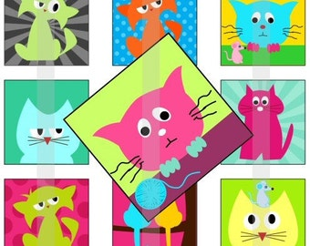 """Meow - one 4x6 inch digital sheet of 1"""" square images for magnets, pendant trays, glass tiles, stickers etc."""