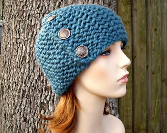 Knit Hat Blue Womens Hat - Cardigan Beanie Hat in Teal Blue Knit Hat - Blue Hat Blue Beanie Womens Accessories Winter Hat