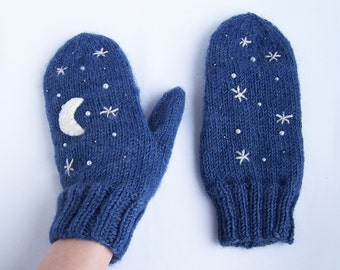 Blue wool mittens Midnight moon stars cosmoss universe magic For adult woman man teens unisex Winter gift Warm and cozy Medium size M L XL
