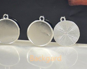 Large Shiny Sliver Trays Pendant Filigree Circle Pendant Pad Pendant base Finding fit 25mm/30mm Cabochon Base gemstone bead Make For Jewelry