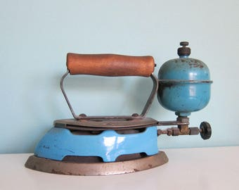 1930's Blue Coleman Gas Iron, Depression Era Blue Gas Iron, Rustic Primitive Blue Gas Iron, Primitive Blue Laundry Decor, Blue Housewares