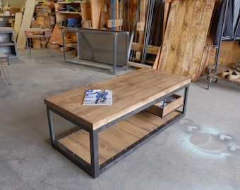 Long Gallagher Steel and 2 inch Wood Coffee Table w/Floating Pallet Crate Shelf