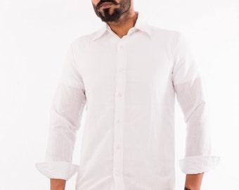 Men Linen Beach Boho Wedding White  Shirt, Plus size.