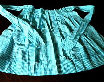 Turquoise Gingham Apron, Vintage 1950s, Cross Stitch Embroidery, Hand Stitched, Very Good Vintage Condition