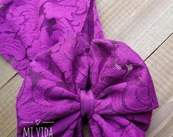 Sofia purple lace bow headband