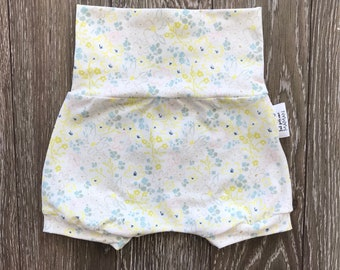 Shorts made by a MOM * small powder blue and yellow flowers