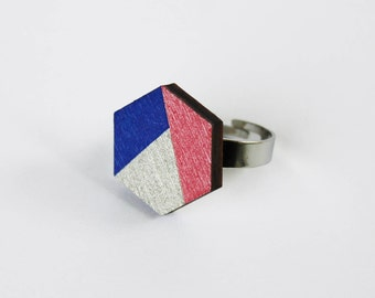wooden hexagon ring, multicolor ring, silver ring, statement ring, wooden jewellery, nickel free ring, geometric ring, minimal ring