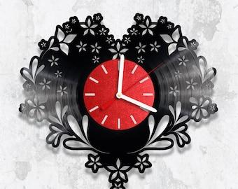 Vinyl Clock, Love Wall Clock, Original Gift, Wall Decoration, Handmade Clock, Wall Art, Unique Gift