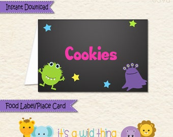 Monster Food Label • Monster Food Tent • Monster Party Decorations • Monster Theme Decorations • Allergy Card  • Monster • Place Card • 039b
