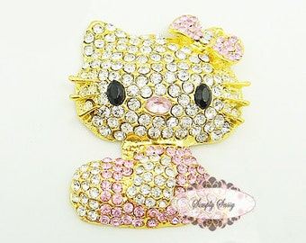 Rhinestone Crystal Kitty PINK Flatback Embellishment Brooch Button Jewelry Iphone Case DIY supplies