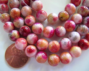 6mm Mountain JADE Beads in Dark Pink, Orange, Pink, Yellow, Dyed, Round, Full Strand, 70 Pcs, Gemstones