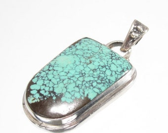 Handmade Genuine Chinese Turquoise (stabilized) and Sterling Silver Pendent with Removable Bail (Pen2) 42x25 mm approx