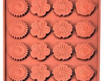 24 Cavity Flower Silicone Mold Candy Chocolate Ice Crayon Candle Fondant Soap Baking Supplies Jenuine Crafts
