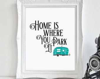 Camper Art, Aqua Camper, Camping Decor, Glamping, RV Decor, Digital Print, Instant Download, Printable Art