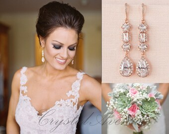 Rose Gold Bridal earrings, Wedding jewelry, Long Wedding earrings Bridal jewelry, Julienne Earrings