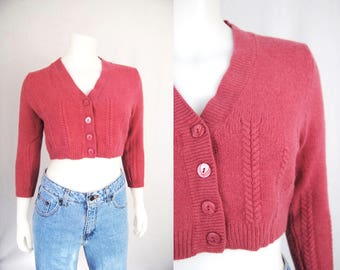 Dusty rose cropped cardigan -- vintage, cable knit, wool, angora, knit sweater, cropped sweater, pink, 1990s 90s clothing