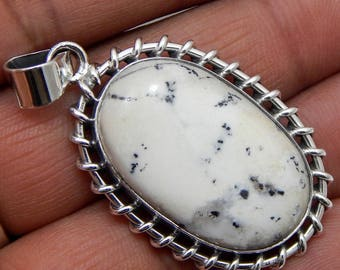 100% Solid 925 Sterling Silver Dendrite Agate Gemstone Handmade Jewelry Pendant