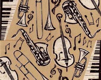 4 Decoupage Napkins|Bebop Jazz Instruments | Music Napkins|Jazz Napkins|Party Napkins| Saxophone Bass Horn | Paper Napkins for Decoupage