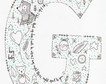 A4 Initial doodle with colour polka dots-please see description below with details to add to order.