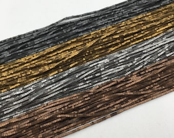 """Matte Rectangular Hematite Gray/Gold/Silver/Copper Plated Gemstone Loose Beads Size 1mm Approx 15.5"""" Long per Strand"""