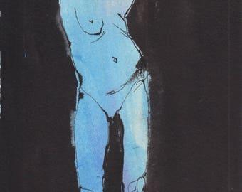Aura #7- Original ink & watercolor drawing