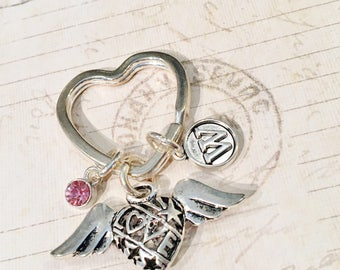 Personalized Winged Heart Key Ring, Heart Keychain, Love Heart Charm Keychain, Angel Wing Keychain Winged Heart Love Keychains Flying Hearts
