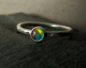 Australian opal triplet ring / rainbow opal / stacking opal ring / October birthstone / opal jewelry / custom opal ring / gift for her