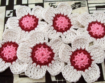 Crocheted Flower Appliques- Antique White