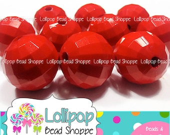 22mm RED Disco Ball Beads Chunky Acrylic Beads 10ct Sparkle Solid Faceted Round Plastic Beads Bubblegum Beads Bubble Gum Beads Gumball Beads