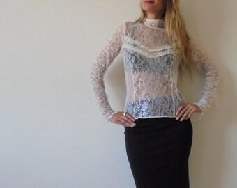Vintage top,Transparent blouse.