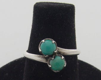 Vintage Turquoise Sphere and Sterling Silver Ring    size 5.75