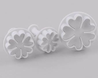 3 pc Clover Flower Cookie Cutter Plunger Mold Set - Candy Fondant Cutter