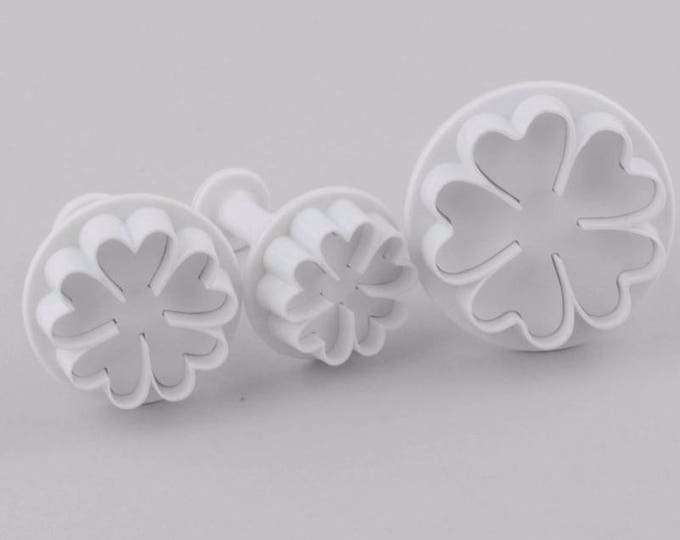 3 pc Clover Flower Cookie Cutter Plunger Mold Set - Candy Fondant Cutter