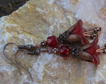 Bellflower deep copper earrings