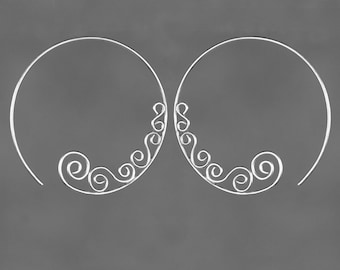 Sterling Silver large hoop rococo scroll Earrings Bridesmaid gifts Free US Shipping handmade Anni designs