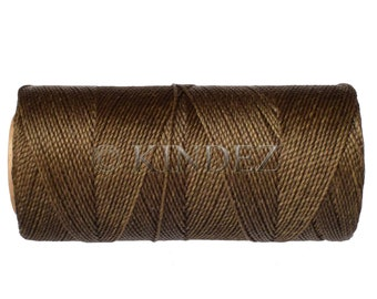 Waxed Cord - 1 spool - Linhasita Cor 844 - Waxed Polyester Cord  1mm - Dark Khaki