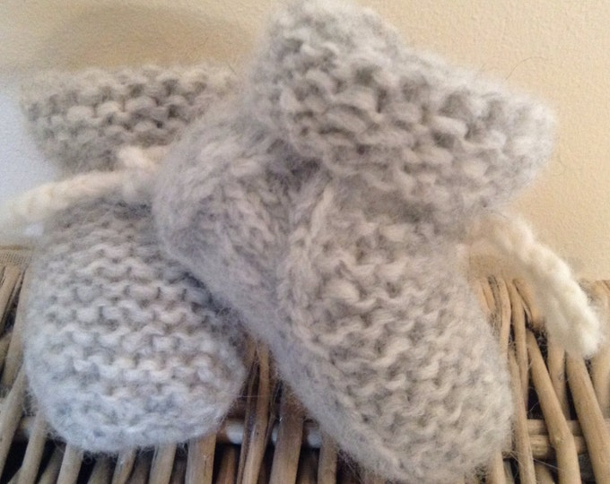 Baby booties - Alpaca & merino wool new born unisex baby booties by Willow Luxury