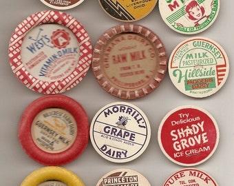 60 Different Old MILK Caps - DAIRY , JUICE, Etc.