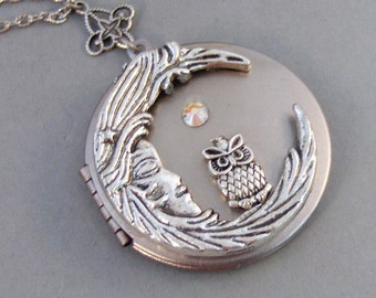 Goodnight Hoots,Necklace,Locket,Silver Locket,Birthstone,Owl,Moon Locket,Owl Locket,Owl necklace,Birthstone Necklace,Moon valleygirldesigns.