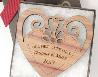 "Personalized ""Our First Christmas / Holiday"" Ornament - Custom Engraved Cedar Heart Ornament - Great Wedding Gift! - Cedar Wood"