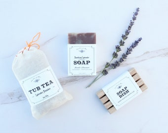 Lavender Gift Set - Tub Tea + Handmade Soap Bar + Soap Dish - relaxing spa pack